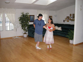 Practicing ballroom dance
